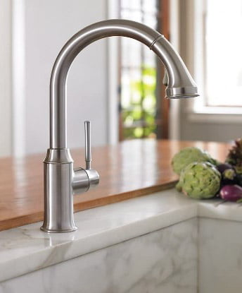 hansgrohe Talis C Premium 1-Handle 15-inch Tall Stainless Steel Kitchen Faucet with Pull Down Sprayer